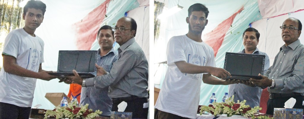 Khulna University students receiving laptops (as scholarship) from Nascenia