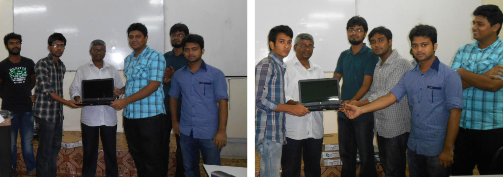 Students of KUET receiving laptops (as scholarship) from Nascenia
