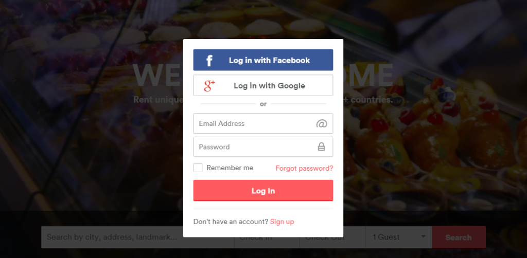 Log in form of Airbnb