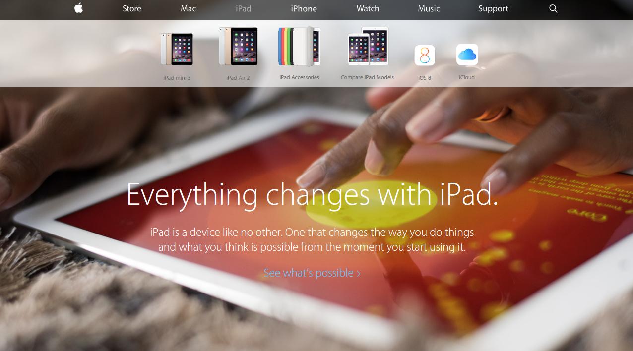 Homepage of Apple's website